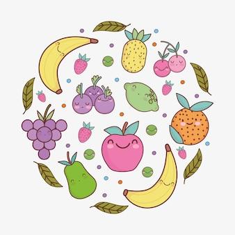 Bande dessinée mignonne de feuilles de fruits drôles