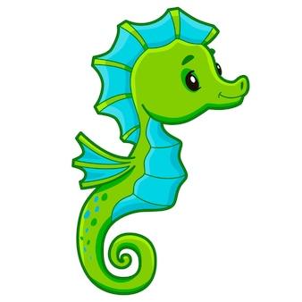 Bande dessinée mignonne d'hippocampe. illustration clipart hippocampe