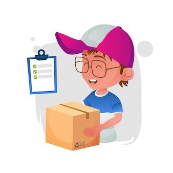 Bande dessinée mignonne d'homme de courrier de livraison avec le paquet de maintien