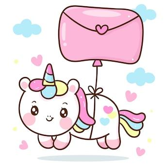 Bande dessinée mignonne de licorne avec animal kawaii de ballon de lettre d'amour