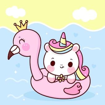 Bande dessinée mignonne de licorne avec caoutchouc flamant rose dans l'animal kawaii de saison d'été de la mer