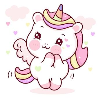 Bande dessinée mignonne de licorne avec étiquette d'amour kawaii pour la saint-valentin
