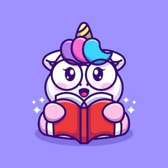 Bande dessinée mignonne de livre de lecture de licorne