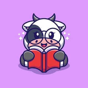Bande dessinée mignonne de livre de lecture de vache