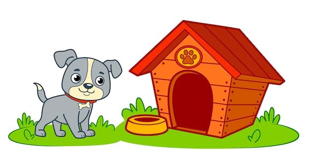 Bande dessinée mignonne de maison de chien. illustration vectorielle de chien chenil clipart