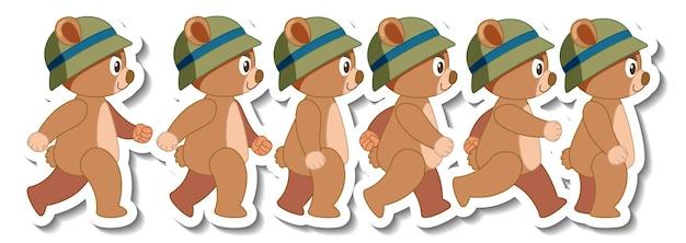 Bande dessinée mignonne d'ours portant l'ensemble de vue de côté d'autocollant de chapeau