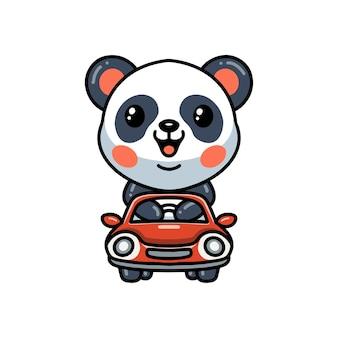 Bande dessinée mignonne de panda conduisant la voiture
