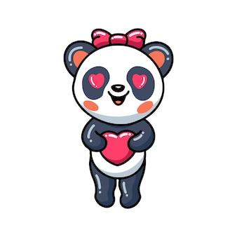 Bande dessinée mignonne de petite fille de panda avec le coeur