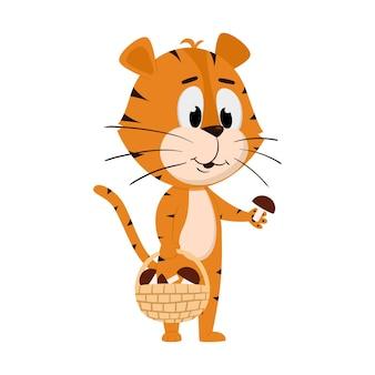 La bande dessinée mignonne de tigre rassemble des champignons dans c'est le panier en osier sur le fond blanc