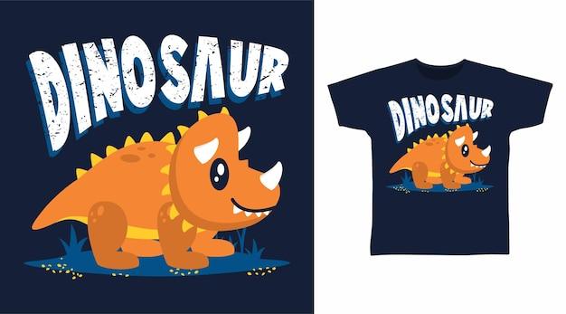 Bande dessinée mignonne de tricératops pour la conception de t-shirt