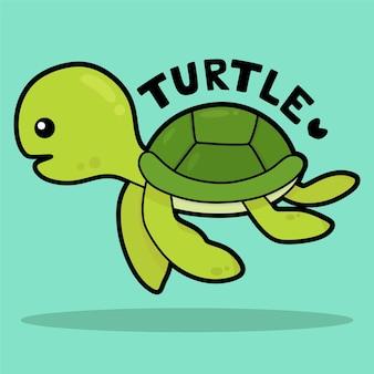 Bande dessinée mignonne de vie marine avec la tortue de vocabulaire