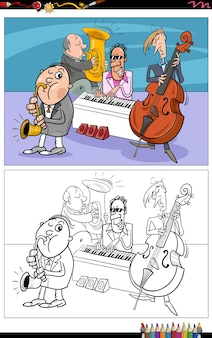 Bande dessinée musiciens personnages bande livre de coloriage page