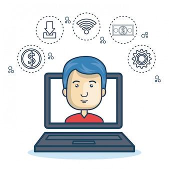 Bande dessinée ordinateur portable guy icônes web design