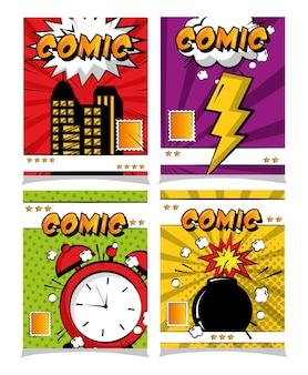 Bande dessinée pop art collection crash horloge boom carte