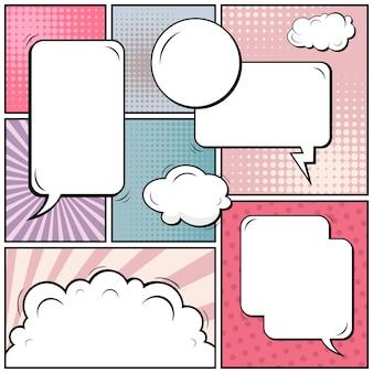 Bande dessinée pop art avec des espaces sur blanc