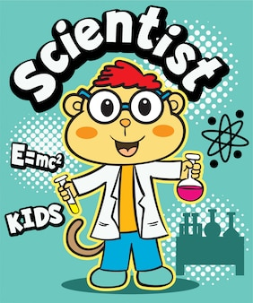Bande dessinée scientifique mignonne de singe