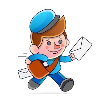Bande dessinée simple d'un facteur exécutant la livraison du courrier