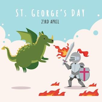 Bande dessinée st. illustration du jour de george avec dragon et chevalier