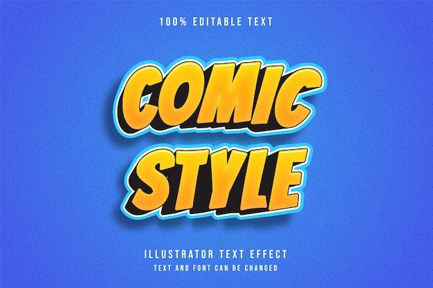 Bande dessinée de style, effet de texte modifiable 3d dégradé jaune modèle bleu orange style bande dessinée moderne