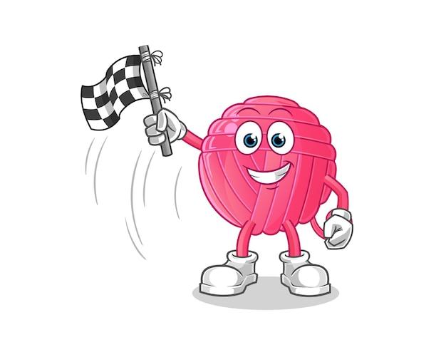 Bande dessinée de support de drapeau de finition de boule de fil. mascotte de dessin animé