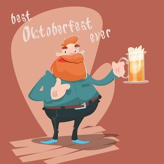 Bande dessinée en verre de bière d'homme de bande dessinée bannière de festival d'oktoberfest