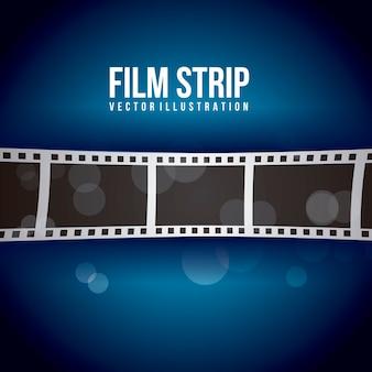 Bande de film sur illustration vectorielle fond bleu