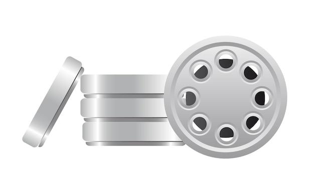 Bande de film isolée sur illustration vectorielle fond blanc