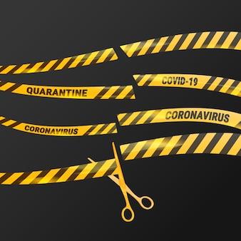 Bande de fin de mise en quarantaine des coronavirus