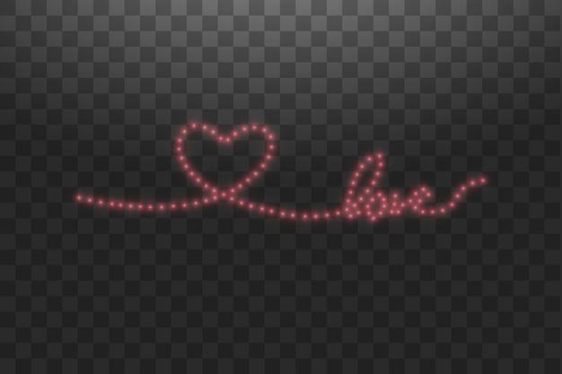 Bande led brillante en forme de coeur sur transparent.
