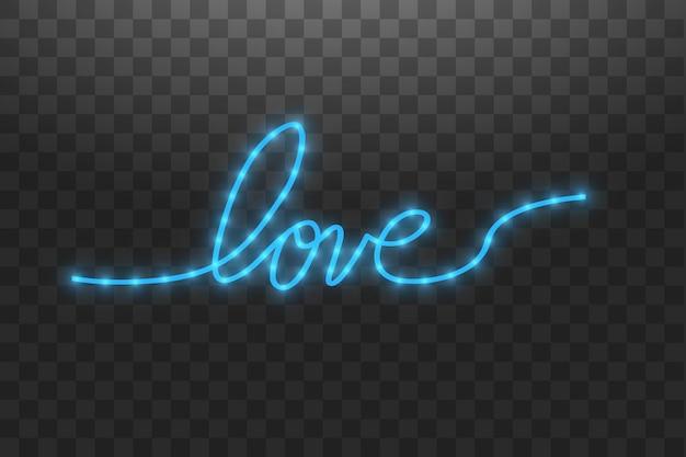 Bande led brillante en forme de lettres d'amour sur transparent