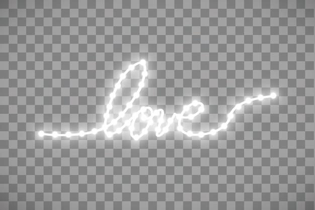 Bande led brillante en forme de mot d'amour sur transparent.