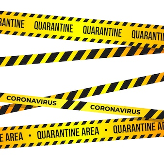 Bande de quarantaine pour coronavirus. panneau d'avertissement de quarantaine de la nouvelle épidémie de covid-19.