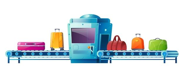 Bande transporteuse avec bagages dans le scanner de contrôle de sécurité du terminal de l'aéroport d'illustration de dessin animé de bagages isolé