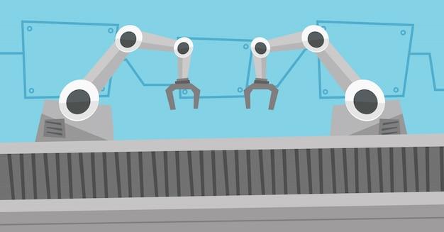 Bande transporteuse robotisée automatisée.