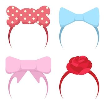 Bandeau avec un arc et une fleur rose pour les filles
