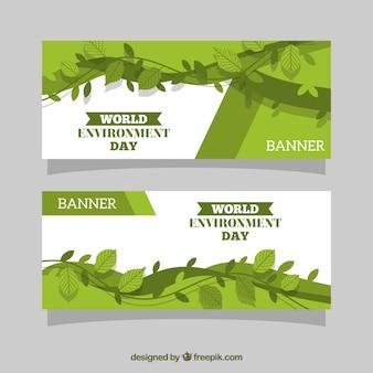 Banderoles abstraites avec des feuilles