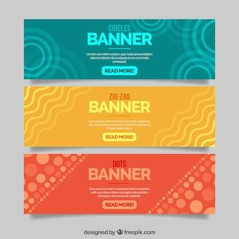 Banderoles colorées avec des formes abstraites