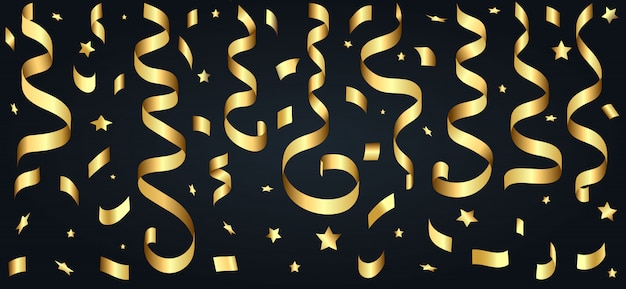 Banderoles et étoiles dorées