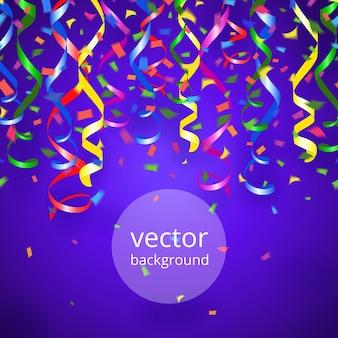 Banderoles de fête de vecteur et confettis sur fond bleu