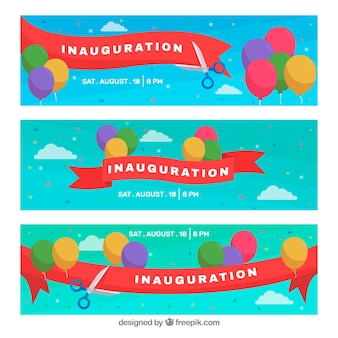 Banderoles d'inauguration avec un ruban de coupe à ciseaux