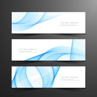 Banderoles ondulées bleues abstraites et élégantes