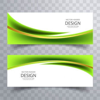 Banderoles ondulées vertes modernes