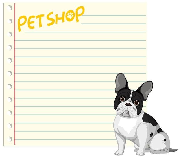 Banderoles en papier vierge avec des chiens mignons isolés sur fond blanc
