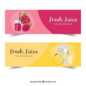 Banderoles plates de jus de fruits