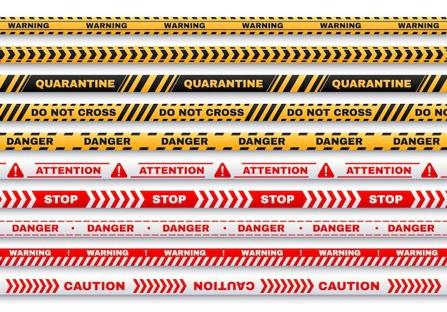 Bandes d'avertissement de sécurité avec quarantaine de typographie