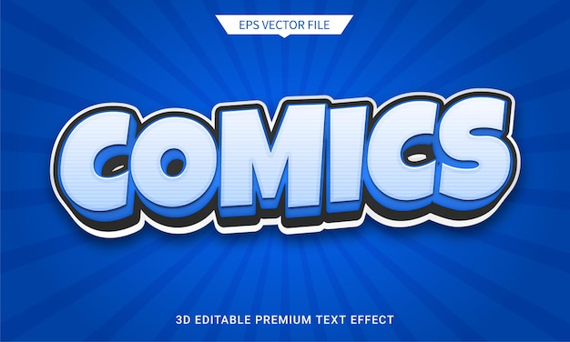 Bandes dessinées et effet de texte modifiable 3d amusant