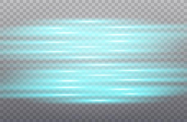 Bandes lumineuses sur fond transparent. effet lumineux. mouvement de particules.