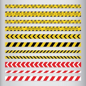 Bandes de mise en garde et de danger. bande d'avertissement.