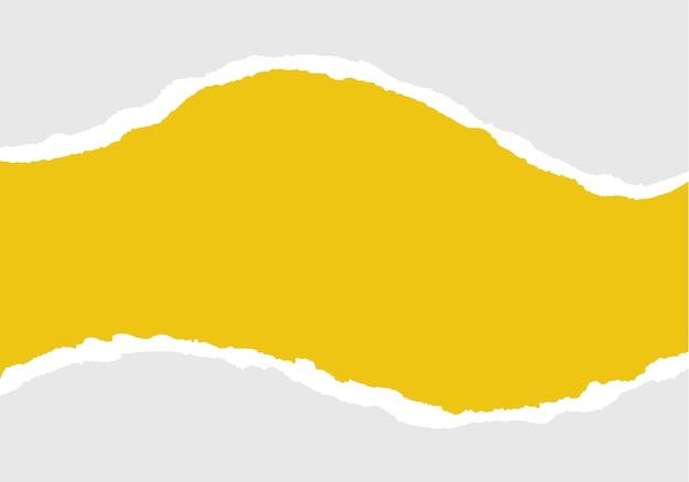 Bandes de papier déchiré jaune papier déchiré réaliste sur fond transparent horizontalement