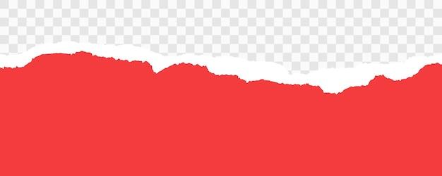 Bandes de papier déchiré rouge papier déchiré réaliste sur fond transparent horizontalement